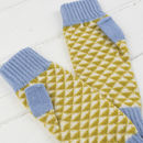Triangle knitted fingerless mitts in mustard and blue