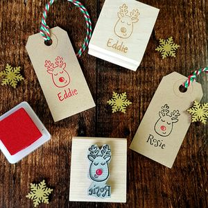 Personalised Christmas Reindeer Rubber Stamp - stamps & inkpads