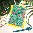 'Tropicana' Neon Monstera Leaf Pattern Greeting Card