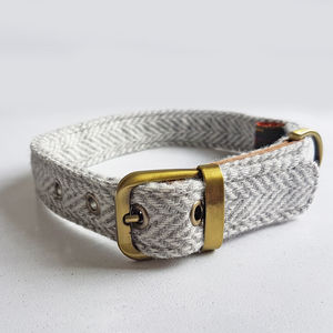 Dog Collar Tweed Grey - dog collars