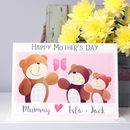 Personalised Bear Family Mother's Day Card