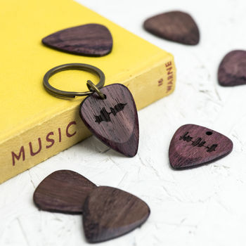Personalised Purple Heart Sound Wave Pick Keyring