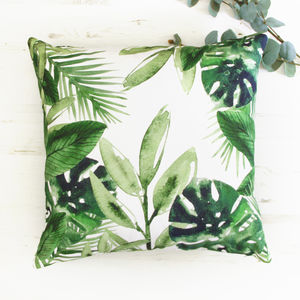 Palm Leaves Tropical Green Cushion