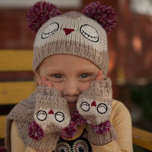 Owl Appliqué Hat, Scarf And Glove Set - hats, scarves & gloves