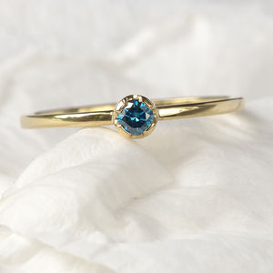 Blue Diamond Ring In 18ct Gold