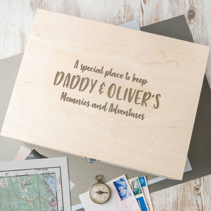 Personalised 'Memories And Adventures' Keepsake Box - home sale