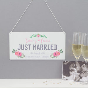Personalised 'Just Married' Number Plate Sign - room signs