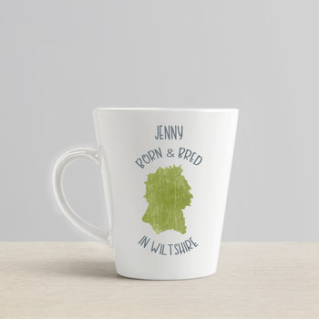 Personalised 'Born And Bred In..' Latte Mug