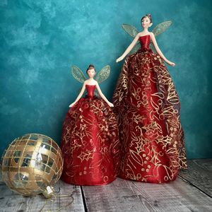 Red And Gold Christmas Fairy Tree Topper