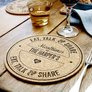Set Of Four Personalised Family Cork Placemats - decoration