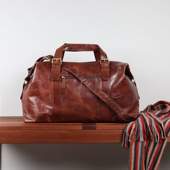 Orlando Leather Weekend Holdall Bag