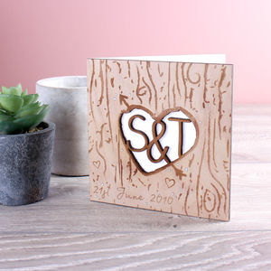 Wooden Tree Carved Heart And Arrow Valentine's Card - anniversary cards