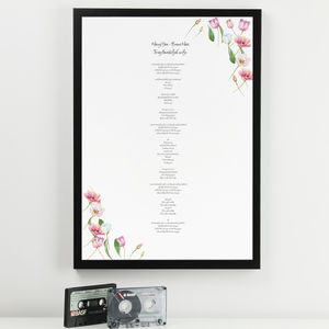 Personalised Floral Lyric Print