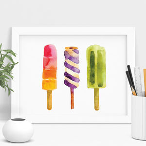 Ice Cream And Ice Lolly Watercolour Print