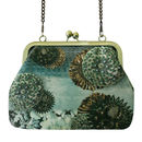 Silk Evening Bag In Green And Gold Sequin Print