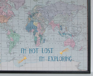 'I'm Not Lost..' Embroidered Fabric Map Notice Board - kitchen accessories