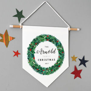 Personalised Family Christmas Watercolour Wreath Banner