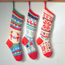 Elves, Blue Sky, White Crystal Christmas Stockings