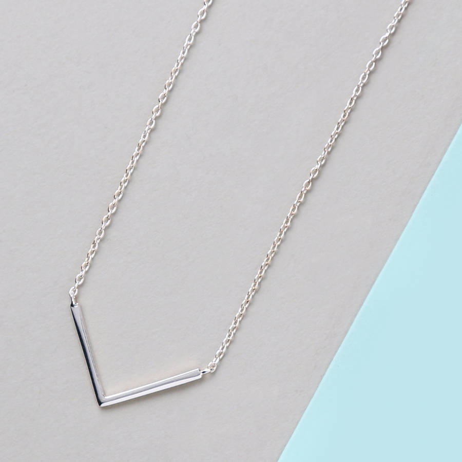 Sterling silver clean v pendant necklace by orelia fine for How do i clean sterling silver jewelry