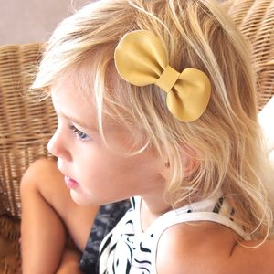 Girls Leather Bow Hair Clip Yellow