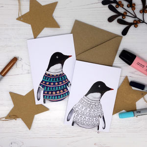 Colour Me In Jumper Penguin Card