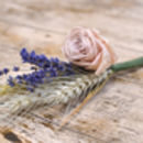 Three Rose, Lavender And Wheat Buttonholes