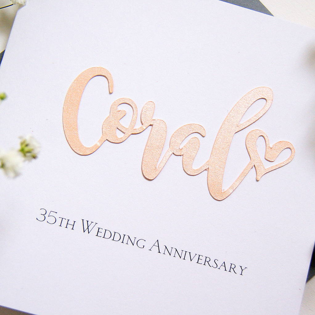coral 35th wedding anniversary card by the hummingbird With 35th wedding anniversary symbol