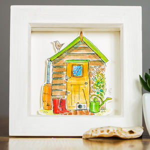 Personalised Shed Watercolour Illustration - brand new sellers