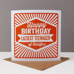 'Happy Birthday Laziest Teenager Of' Retro Card