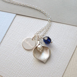 Personalised Calla Lily Necklace - for grandmothers