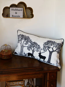 Large Woods And Stag Illustrated Linen Cushion - living room