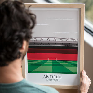 Personalised Contemporary Football Stadium Print - 50th birthday gifts