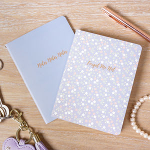 Set Of Two A6 Lilac Lined Memo Notebooks