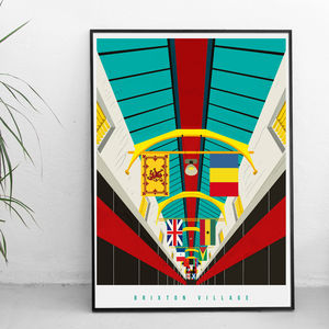 Brixton Village Illustrated Poster - posters & prints