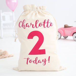 Personalised Birthday Today Sack Girls - storage & organisers