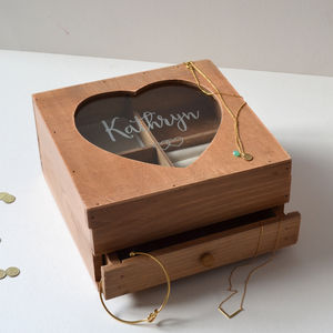 Extra Large Personalised Wooden Jewellery Box - gifts for her sale