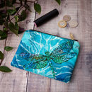 Dragonfly Lily Velvet Coin Purse | Teal