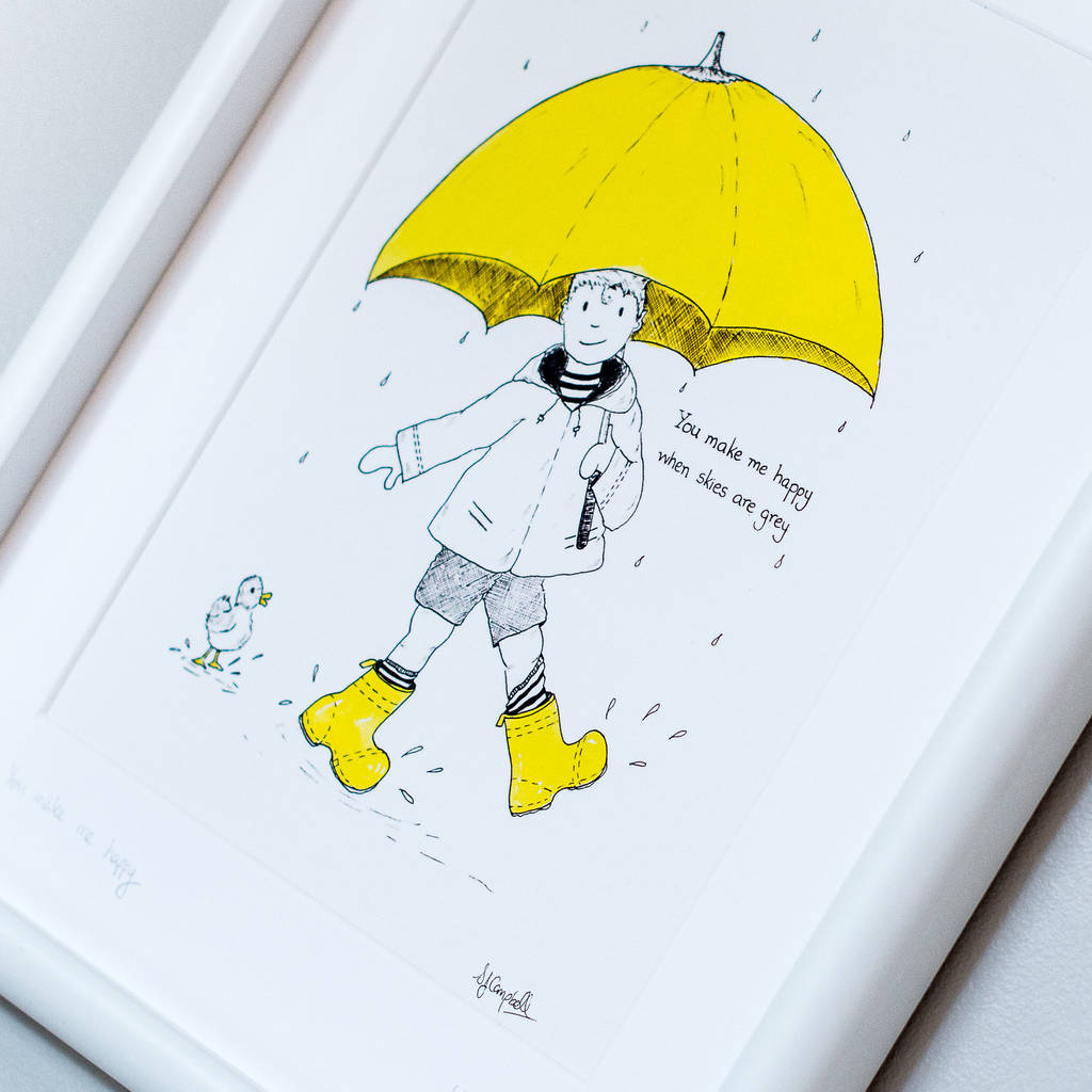 personalised yellow umbrella children u0027s art print by plumginger