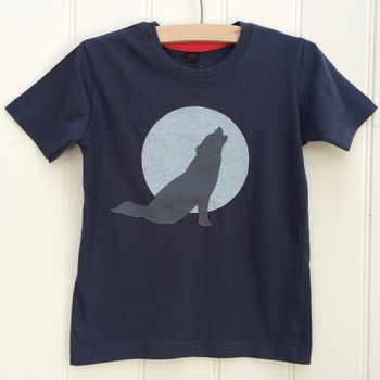 Kid's Wolf Applique T Shirt