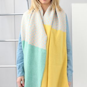Geometric Knitted Lambswool Large Wrap - keeping cosy