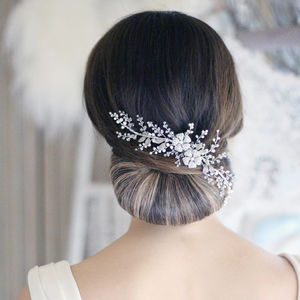 Olivia Swarovski Crystal And Pearl Hair Vine - bridal hairpieces