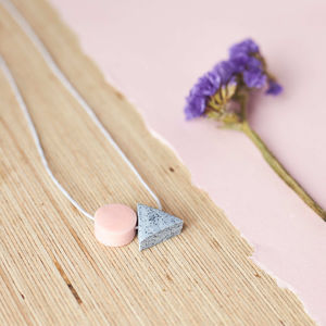 Peach + Grey Mini Shapes Necklace