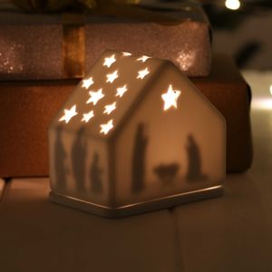 Porcelain And Stars Christmas Nativity Scene - christmas lighting
