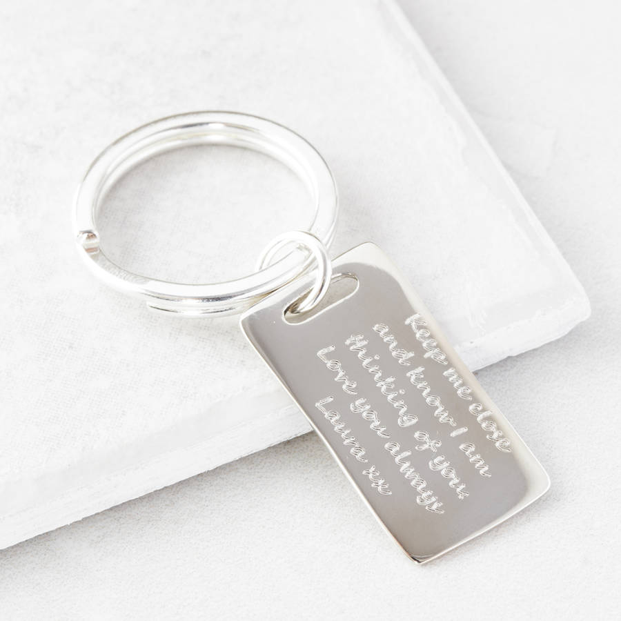 personalised silver message key ring by under the rose ... c4440b174276