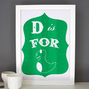 D Is For Dinosaur Alphabet Print
