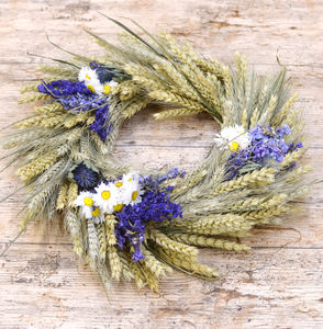 Blue Wheat Wreath - wreaths