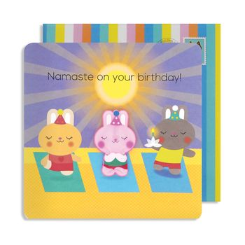 Yoga Bunny Birthday Jelly Magnet Card
