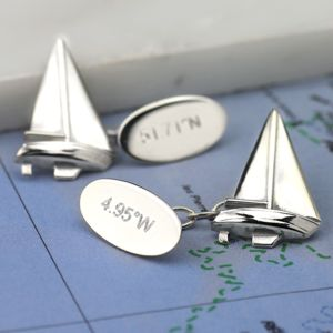 Sailing Boat Cufflinks Solid Silver - personalised