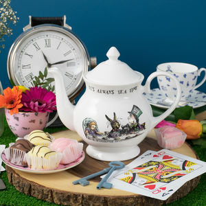 'It's Always Tea Time' Alice In Wonderland Teapot - teapots