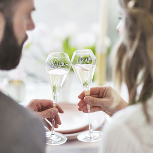 Personalised Tulip Champagne Flute Set For Couples